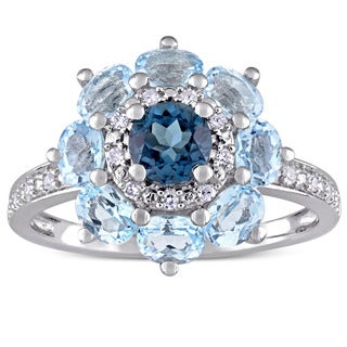Laura Ashley London and Sky Blue Topaz with 1/10ct TDW Diamond Flower Ring in Sterling Silver (G-H, (2 options available)
