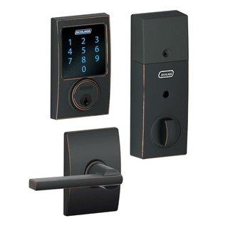 Schlage BE469CEN716 Touchscreen Deadbolt w/ Alarm & Latitude Lever - Aged Bronze