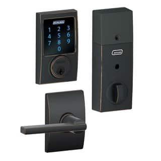 Schlage BE469CEN716 Touchscreen Deadbolt w/ Alarm & Latitude Lever - Aged Bronze https://ak1.ostkcdn.com/images/products/14307316/P20889397.jpg?impolicy=medium