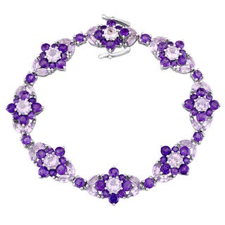 Laura Ashley Rose de France and Amethyst-Africa Flower Bracelet in Sterling Silver