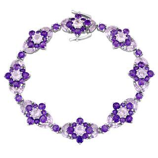 Laura Ashley Rose de France and Amethyst-Africa Flower Bracelet in Sterling Silver|https://ak1.ostkcdn.com/images/products/14307317/P20889503.jpg?impolicy=medium