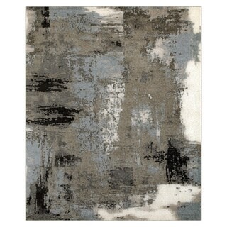 L and R Home Matrix Walnut and Silver Blue Indoor Area Rug( 7'9 x 9'5 )