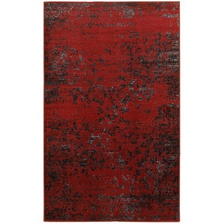 L and R Home Matrix Burgundy and Black Indoor Area Rug( 7'9 x 9'5 )