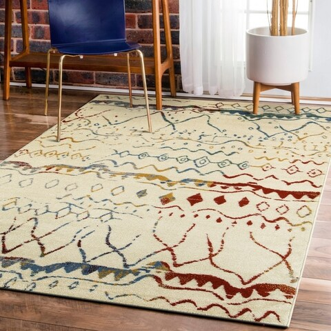 "LR Home Matrix Bohemian Abstract Cream/ Blue Olefin Rug - 7'9"" x 9'5"""