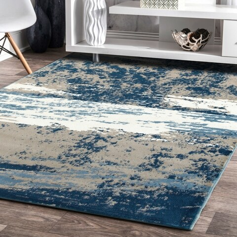 LR Home Matrix Cloudy Sky Beige / Blue Indoor Rug ( 5'2 x 7'2 ) - 5'2 x 7'2