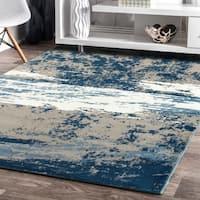 LR Home Matrix Cloudy Sky Beige / Blue Indoor Rug ( 5'2 x 7'2 ) - 5'2 X 7'2