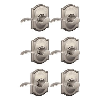 Schlage Accent Lever w/ Camelot Trim Hall & Closet Lock (Satin Nickel) (6-Pack)