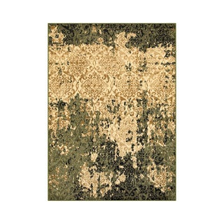 L and R Home Matrix Ivory and Green Indoor Area Rug (5'2 x 7'2)