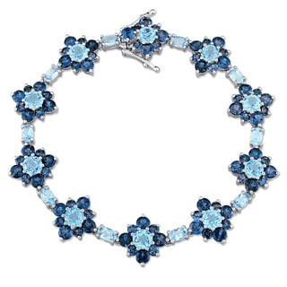 Laura Ashley London and Swiss Blue Topaz Flower Bracelet in Sterling Silver
