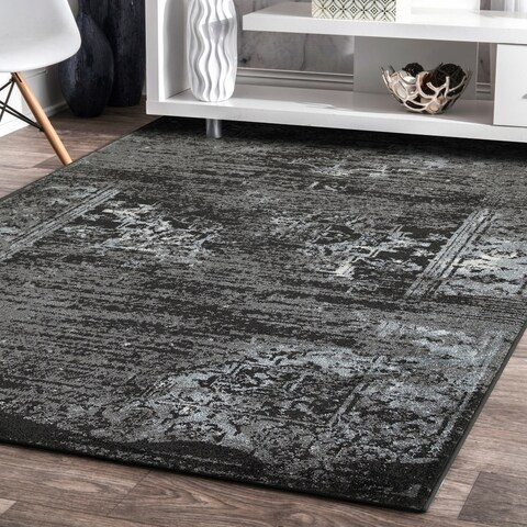 LR Home Matrix Distressed Oriental Jet Black/ Titanium Olefin Rug - 5'2 x 7'2