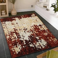 LR Home Matrix  Burgundy / Cream Indoor Area Rug ( 5'2 x 7'2 ) - 5'2 x 7'2