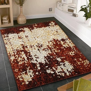 L and R Home Matrix Burgundy and Cream Indoor Area Rug (5'2 x 7'2)