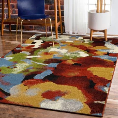 LR Home Matrix Impressionist Terra/ Gold Olefin Rug - 5'2 X 7'2