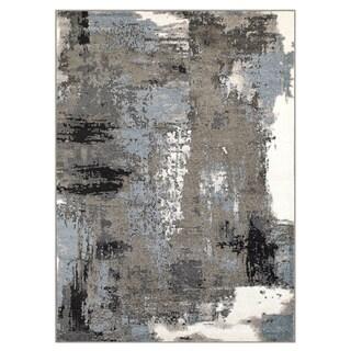 Porch & Den Somerville Melvin Walnut and Silver Blue Indoor Area Rug (5'2 x 7'2)