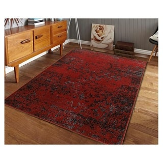 L and R Home Matrix Burgundy and Black Indoor Area Rug (5'2 x 7'2)