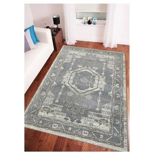 L and R Home Matrix Frost Gray and Silver Indoor Area Rug (5'2 x 7'2)
