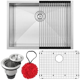 26-inch Ticor S3670-KIT 16 Gauge Stainless Steel Single Bowl Undermount Square Kitchen Sink Zero Radius Corners