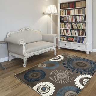 L and R Home Adana Charcoal and Blue Indoor Area Rug ( 7'9 x 9'10)