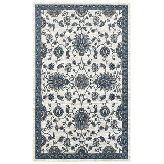 L and R Home Adana White/Blue Indoor area rug ( 7'9 x 9'10 )