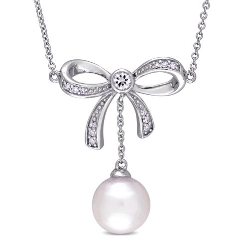 Laura Ashley Cultured Freshwater Pearl and Diamond Accent Bow Dangle Necklace in 10k White Gold (8-8.5 mm)(G-H,I2-I3)