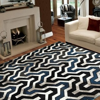 L and R Home Adana Black/White Indoor area rug (7'9 x 9'10)