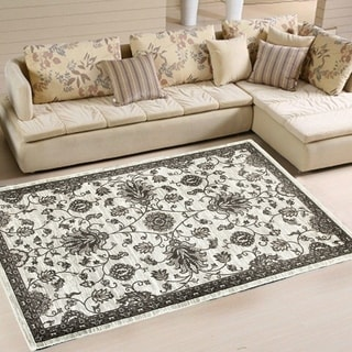 L and R Home Adana White/ Brown Indoor area rug (7'9 x 9'10)