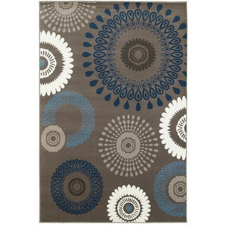 L and R Home Adana Charcoal and Blue Indoor Area Rug ( 5'1 7'5 )