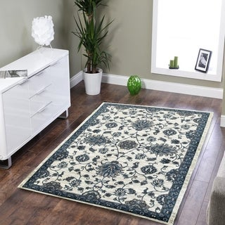 L and R Home Adana White/Blue Indoor area rug ( 5'1 7'5)
