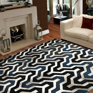 L and R Home Adana Black/White Indoor area rug (5'1 7'5)