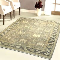 LR Home Hand Knotted Kareena Czarist Charcoal/ Gray Wool Rug - 9' x 12'
