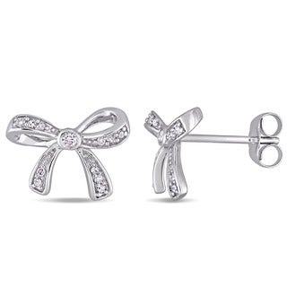 Laura Ashley White Sapphire and 1/10ct TDW Diamond Bow Stud Earrings in 10k White Gold (G-H,I2-I3)