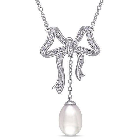 Laura Ashley Cultured Freshwater Pearl and 1/10ct TDW Diamond Bow Dangle Necklace in Sterling Silver (7-7.5 mm)(G-H,I1-I2)