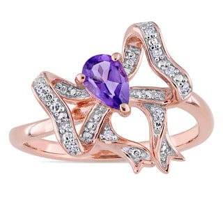 Laura Ashley Amethyst and 1/10ct TDW Diamond Bow Ring in Rose Plated Sterling Silver (G-H,I1-I2)