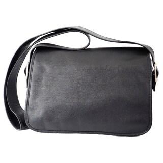 Piel Flap-over Leather Messenger Bag
