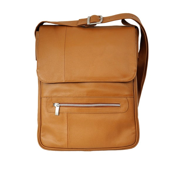Piel Vertical Leather 15-inch Laptop Messenger Bag
