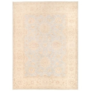 Herat Oriental Afghan Hand-knotted Vegetable Dye White Wash Oushak Wool Rug (8'10 x 11')