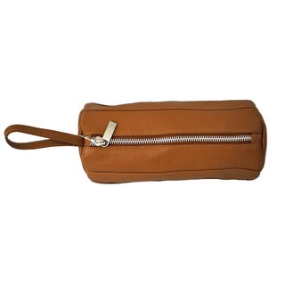 Piel Leather Cylinder Cosmetic Toiletry Bag