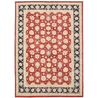 Herat Oriental Afghan Hand-knotted Vegetable Dye Oushak Wool Rug (9'9 x 14'1)