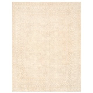 Herat Oriental Afghan Hand-knotted Vegetable Dye White Wash Oushak Wool Rug (11'1 x 14'5)