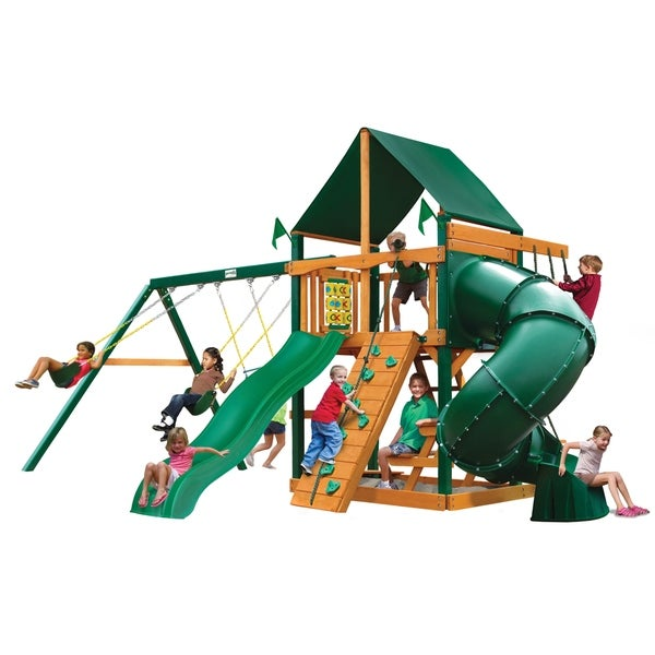 Gorilla Playsets Mountaineer Cedar Swing Set with Sunbrella Canvas Canopy and Timber Shield Posts