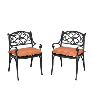 Home Styles Biscayne Black Pair of Arm Chairs with Cushions
