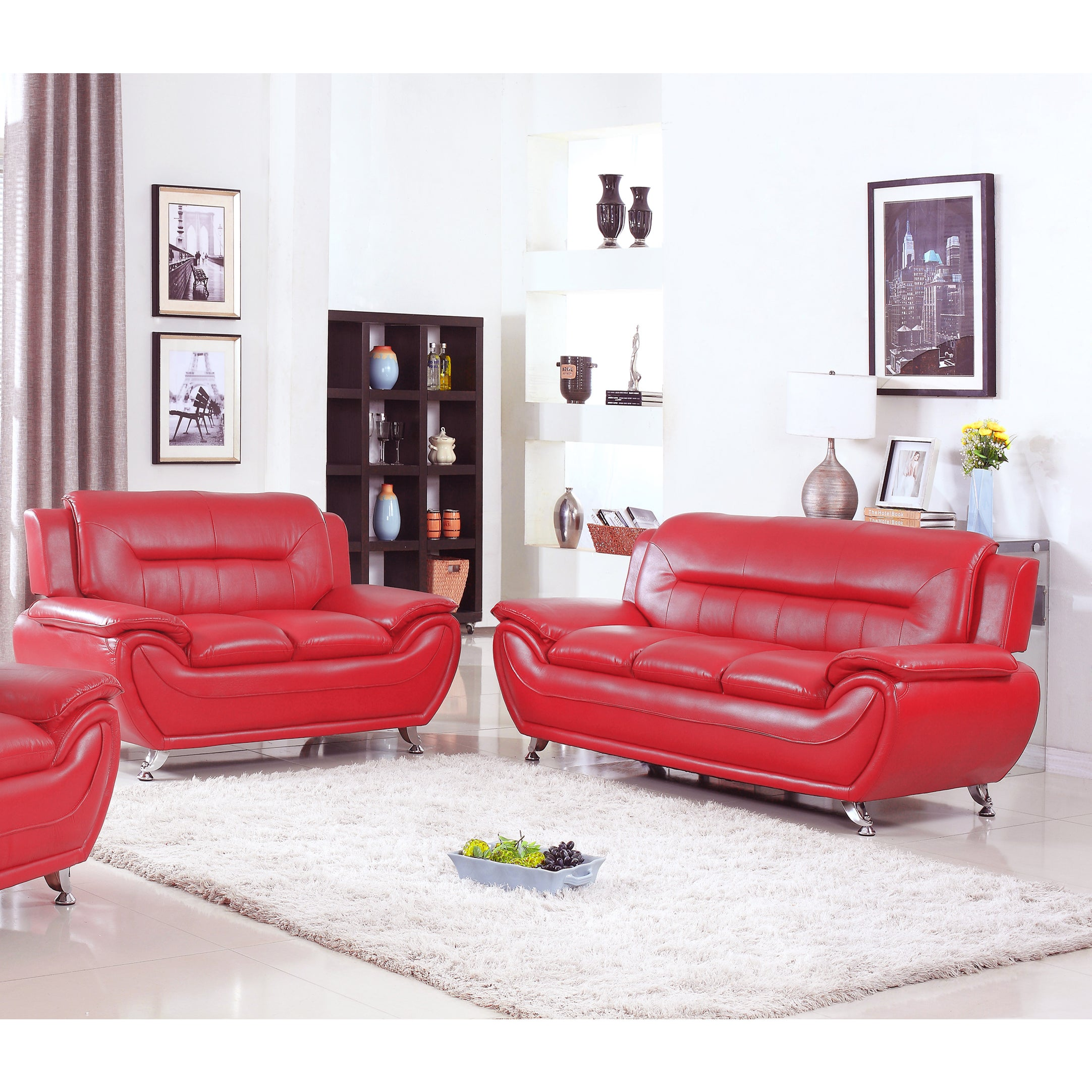 Deliah Relaxing Contemporary Modern Style 2pc Sofa And Loveseat Set 3 Colors