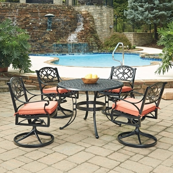 Home Style Biscayne Black Round 5 Pc Outdoor Dining Table 4 Swivel Rocking Chairs