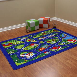 Paradise Street Map Blue color area rug (5'x7')