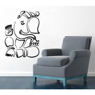 Ganesha Lord Wall Decals Indian Elephant Yoga Decal Gym Wall Decor Art Mural Animals Decor Sticker D
