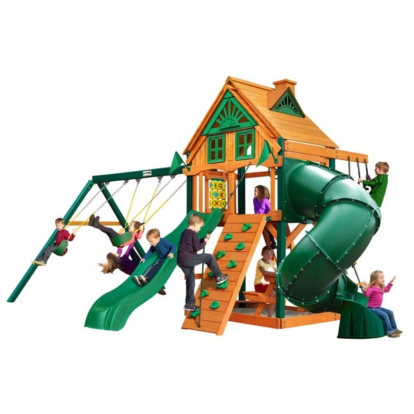 Gorilla Playsets Mountaineer Treehouse Cedar Swing Set with Timber Shield Posts