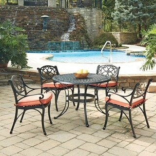 Biscayne Black Round 5 Pc Outdoor Dining Table & 4 Arm Chairs with Cushions by Home Styles