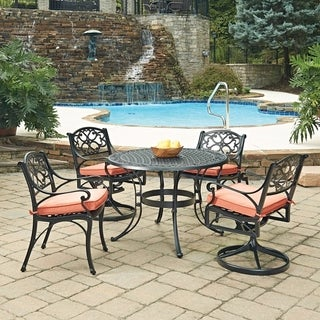 Biscayne Black Round 5 Pc Outdoor Dining Table with 2 Arm Chairs & 2 Swivel Rocking Chairs with Cushions by Home Styles
