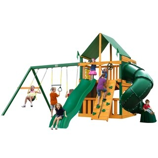Gorilla Playsets Mountaineer Clubhouse Cedar Swing Set with Green Vinyl Canopy and Timber Shield Posts