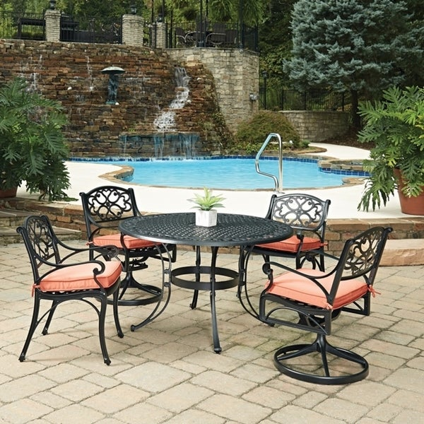 Shop Biscayne Black Round 5 Pc Outdoor Dining Table With 2